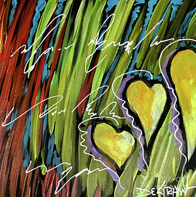 Painting - Hearts In The Grass by Cindy DeGraw