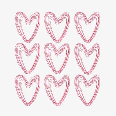 Abstract Shapes Drawing - Hearts by Maria Heyens