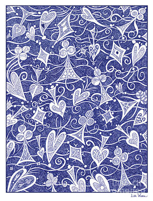 Drawing - Hearts, Spades, Diamonds And Clubs In Blue by Lise Winne