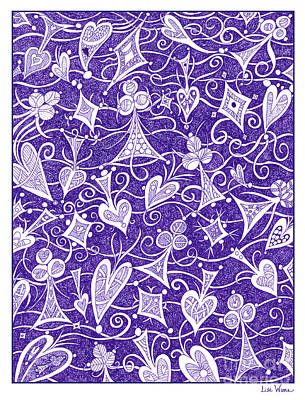 Drawing - Hearts, Spades, Diamonds And Clubs In Purple by Lise Winne