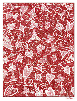 Drawing - Hearts, Spades, Diamonds And Clubs In Red by Lise Winne