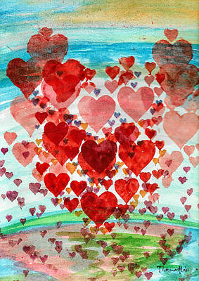 Watercolor Painting - Hearts by Tiima Studio