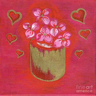 Mixed Media - Hearts With Flowers by Teresa White