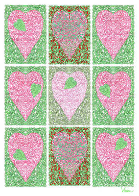 Digital Art - Hearts Within Hearts In Green And Pink by Lise Winne
