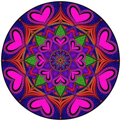 Zendoodle Digital Art - Hearts Zendala - Optional Background Colors by SharaLee Art