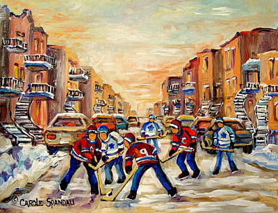 Quebec Streets Painting - Heat Of The Game by Carole Spandau