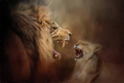 Painting - Heated Conversation Lion Art by Jai Johnson