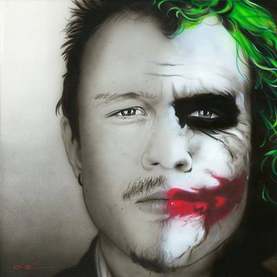 Greens Painting - ' Heath Ledger / Joker ' by Christian Chapman Art