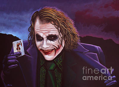 Celebrities Painting - Heath Ledger As The Joker Painting by Paul Meijering