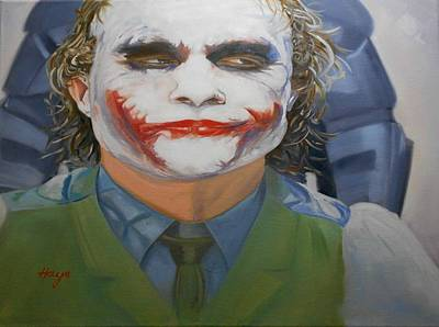 Character Portraits Painting - Heath Ledger-joker by Donna Hays