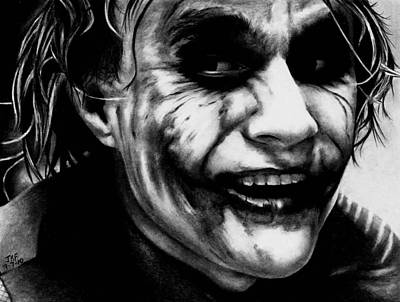 Heath Ledger Wall Art - Drawing - Heath Ledger Joker by Rick Fortson