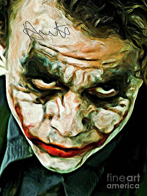 Heath Ledger Digital Art - Heath Ledger The Joker Art With Autograph by Kjc