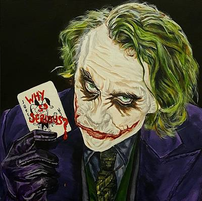 Heath Ledger Wall Art - Painting - Heath Ledger The Joker by David Peninger