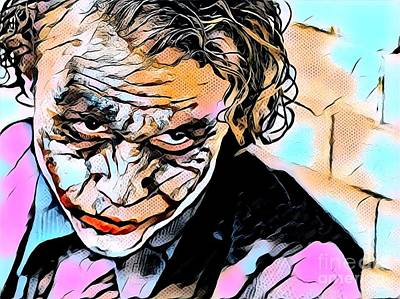 Heath Ledger Mixed Media - Heath Ledger The Joker by Rogue Art