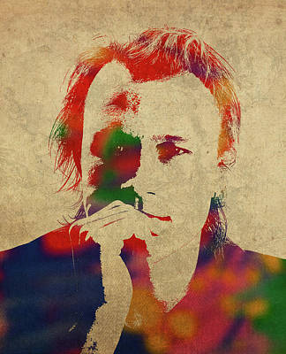 Heath Ledger Wall Art - Mixed Media - Heath Ledger Watercolor Portrait by Design Turnpike