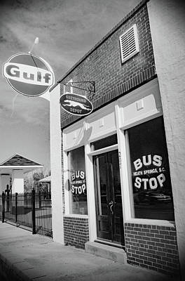 Photograph - Heath Springs Bus Stop B W 2 by Joseph C Hinson Photography