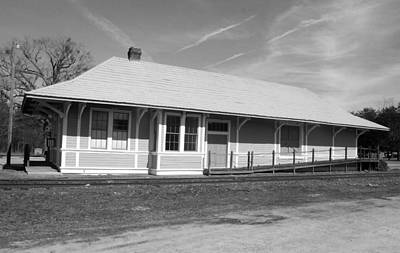 Photograph - Heath Springs Railroad Depot Bw by Joseph C Hinson Photography
