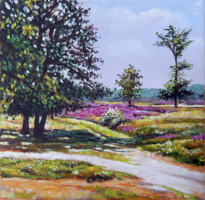 Heather Painting - Heather And Marshland by Arie Van der Wijst