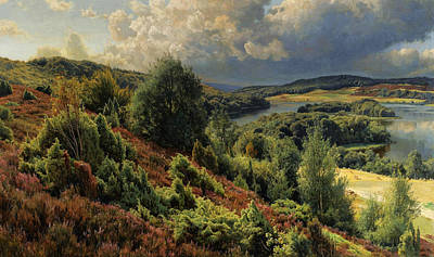 Heather Painting - Heather-covered Hills By The Lakes Near Silkeborgh by Peder Monsted