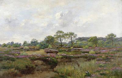 Pierre Emmanuel Eugene Damoye Painting - Heather Landscape by Pierre Emmanuel Eugene Damoye