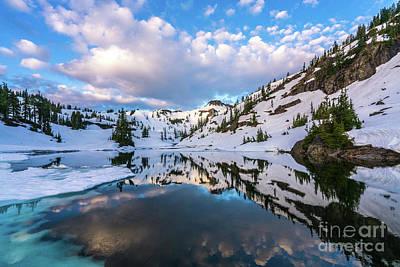 First Snow Photograph - Heather Meadows Blue Ice Reflection Cloudscape by Mike Reid