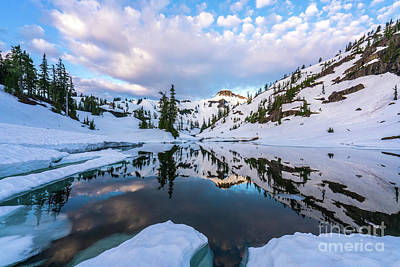 First Snow Photograph - Heather Meadows Reflection Cloudscape by Mike Reid