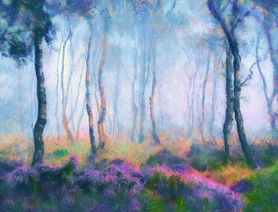 Digital Art - Heather On A Misty Hill by Georgiana Romanovna
