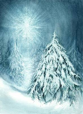 Winter Night Painting - Heaven And Nature Sing  by Janine Riley