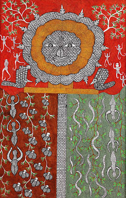 Gond Exhibition Painting - Heaven  Skd 183  by Suresh Kumar Dhurve