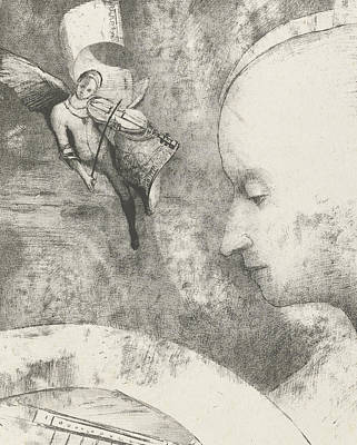 Violin Drawing - Heavenly Art by Odilon Redon