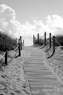 Photograph - Heavenly Beach Path Black And White by Carol Groenen