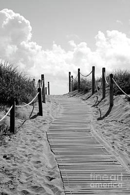Photograph - Heavenly Beach Path Black And White by Carol Groenen