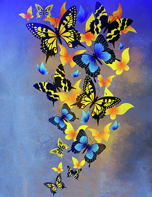 Mixed Media - Heavenly Butterflies Contemporary Art by Georgiana Romanovna