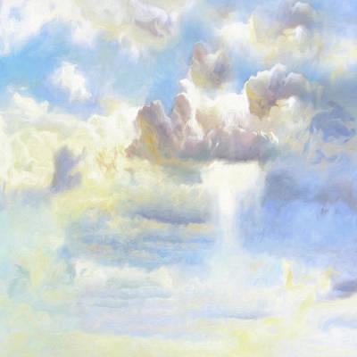 Oil Landscape Mixed Media - Heavenly Clouded Beautiful Sky by Georgiana Romanovna
