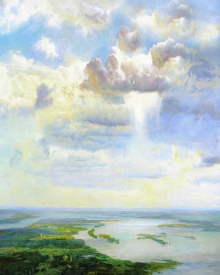 Abstract Realism Painting - Heavenly Clouded Beauty Abstract Realism by Georgiana Romanovna
