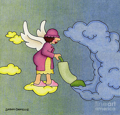 Greetings Card Drawing - Heavenly Housekeeper by Sarah Batalka