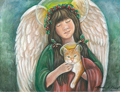 Painting - Heavenly Kitty by Linda Nielsen