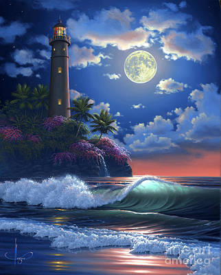 Full Moon Painting - Heavenly Light by Al Hogue