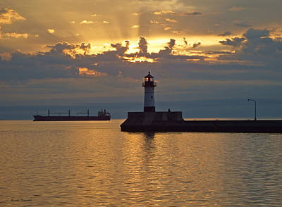 Duluth Canal Park Canal Park Lighthouse Lighthouse Lake Superior Minnesota Photograph - Heavenly Light by Alison Gimpel