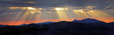 Photograph - Heavenly Lights Sunset Panorama by Lynn Bauer