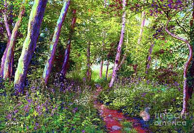 Peaceful Landscape Painting - Heavenly Walk Among Birch And Aspen by Jane Small