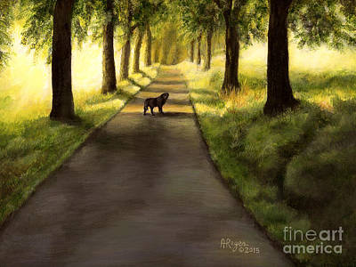 Painting - Serenity - Walk With Black Labrador by Amy Reges