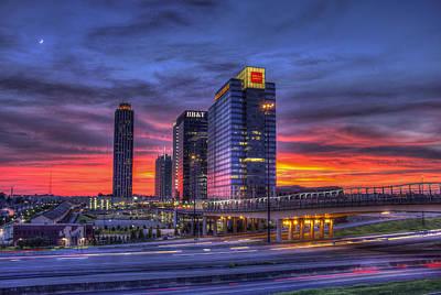 Photograph - Heavens Ablaze Atlantic Station Banking by Reid Callaway