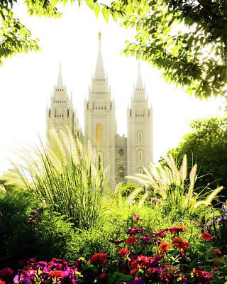 Salt Lake City Temple Photograph - Heavens Glory by La Rae  Roberts