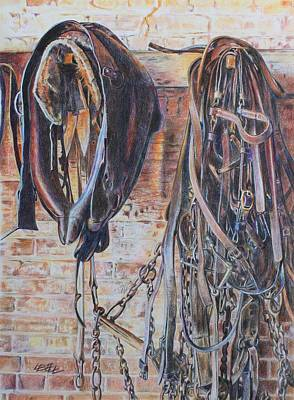 Clydesdale Drawing - Heavy Horse Tack Room by Leonie Bell
