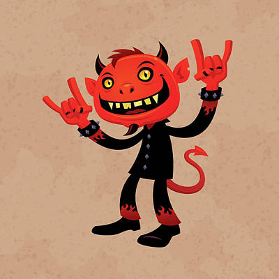 Halloween Drawing - Heavy Metal Devil by John Schwegel