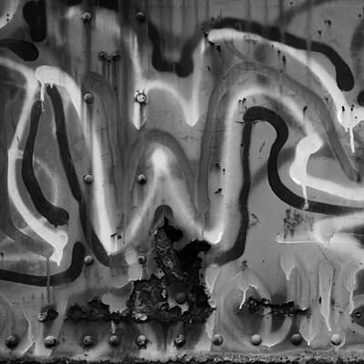 Photograph - Heavy Metal Graffiti Black And White by Val Arie