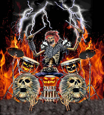 Digital Art - Heavy Metal Zombie Drummer by Glenn Holbrook