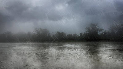 Photograph - Heavy Rain Over A River by Nika Lerman