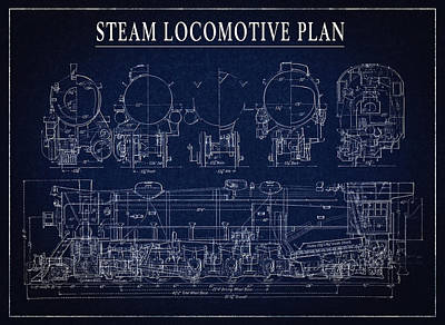 Boiler Digital Art - Heavy Steam Locomotive Blueprint by Daniel Hagerman